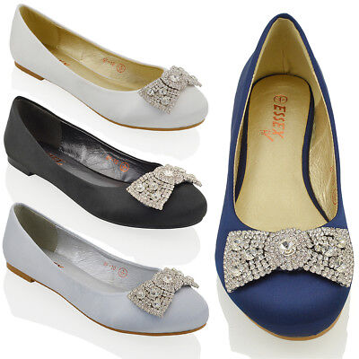 Womens Wedding Bridal Evening Jewelled Brooch Pumps Ladies Flat Dolly Shoes • 9.99£