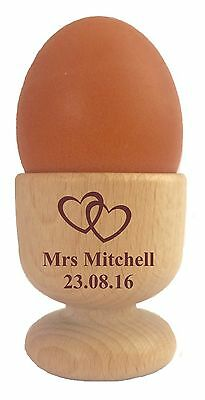 £6.95 • Buy Personalised Name Gift Wooden Dippy Egg Cup Mr Mrs Wedding Birthday Anniversary