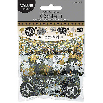 50th Birthday Confetti Table Decoration Sprinkle Black Silver Gold Age 50 Party  • 3.25£