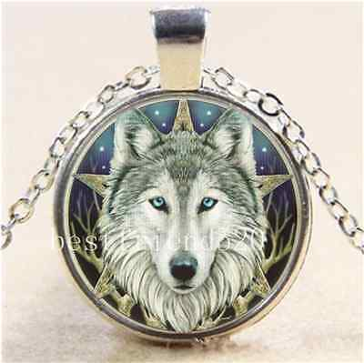 £1.55 • Buy Wicca Wolf Head Cabochon Glass Tibet Silver Chain Pendant  Necklace