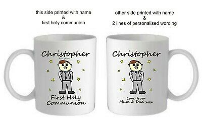 Personalised 1st First Holy Communion Boys Mug Cup Godson Gift Present For Him • 7.95£