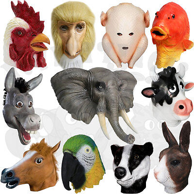 Latex Fancy Animals Head Party Props Cosplay Masquerade Carnival Costume Masks • 15.99£