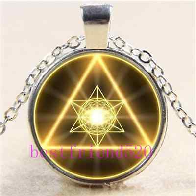 £1.85 • Buy Gold Sacred Geometry Cabochon Glass Tibet Silver Chain Pendant Necklace