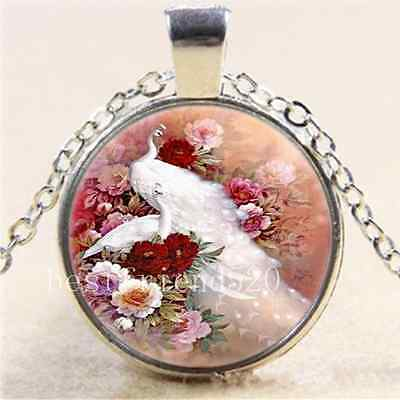 £1.85 • Buy Rose With White Peacock Cabochon Glass Tibet Silver Chain Pendant Necklace