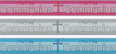 First Holy Communion Banners Pink Blue Silver Communion Decorations (pa) • 1.50£