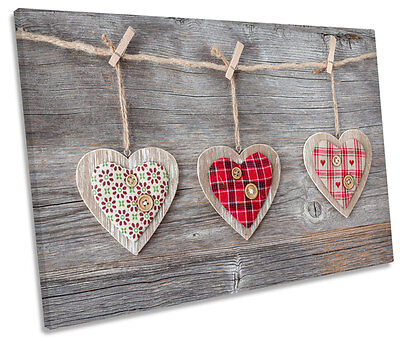 Hanging Love Hearts Shabby Chic SINGLE CANVAS WALL ART Print Picture • 38.99£