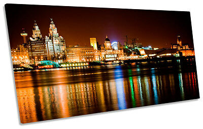 £34.99 • Buy Liverpool City Skyline PANORAMIC CANVAS WALL ART Print Picture