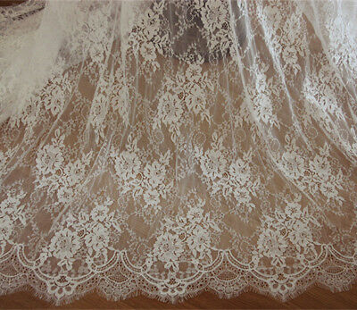£17.99 • Buy Off White Chantilly Bridal Lace Fabric Costume Dress Wedding Veiling 300cm Long