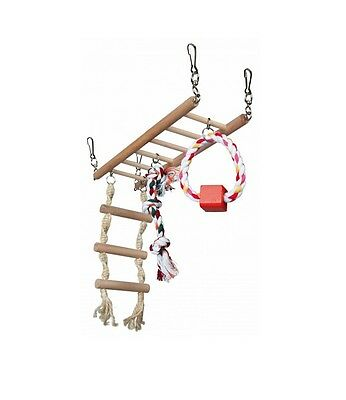 Hamster Toy WOODEN ACTIVITY LADDER Suspension Bridge Swing COLOUR Rope 29×25×9c  • 8.99£