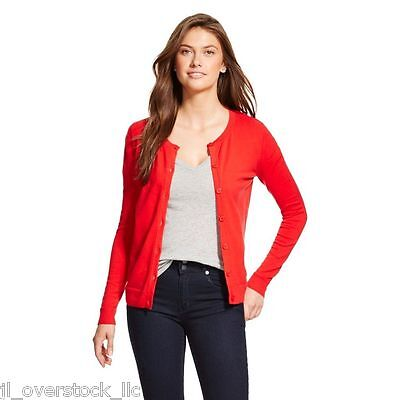 $12.49 • Buy Merona Women's Favorite Cardigan Sweater Crew Neck Long Sleeve - Red - NEW NWT