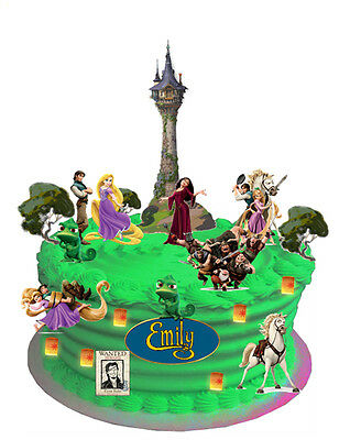 RAPUNZEL TANGLED WAFER CARD CAKE SCENE WITH PERSONALISED PLAQUE (uncut)33 Pieces • 4.50£