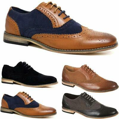 Mens Casual Two Tone Formal Office Smart Work Lace Up Oxford Brogue Shoes Size • 18.95£