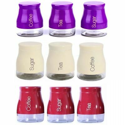 Set Of 3 Kitchen Storage Canisters Tea Coffee Sugar Jars Pots Containers Caddy • 13.99£
