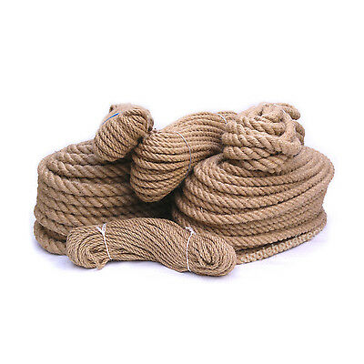 100% Natural Pure Jute Hessian Rope Cord Twisted Garden Decking 6mm- 40 Mm Thick • 9.99£