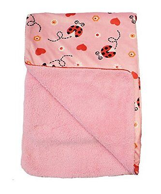 Supersoft Luxurious Pink Velour Pram/Crib Blanket With Piped Edging - Ladybird D • 12.99£