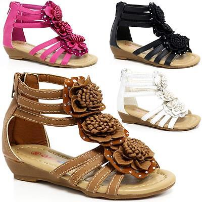 Girls Summer Sandals New Low Wedge Fancy Gladiator Dress Party Beach Shoes Size • 7.95£
