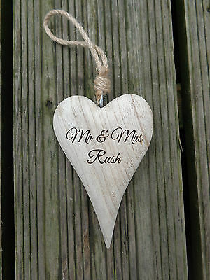 Personalised Engraved Chunky LONG Wooden Hanging Heart New Baby / Wedding Gift • 5.50£