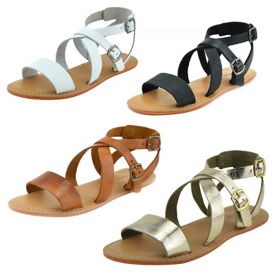 Women's Leather Gladiator Sandals Ladies Strappy Metallic Espadrille Summer Size • 19.98£