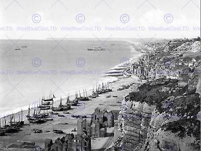 £9 • Buy Hastings View From The East Cliff England Old Bw Photo Print Poster 907bwb