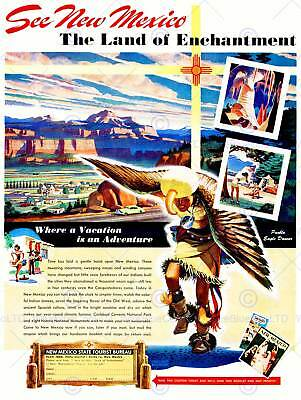 Travel Tourism New Mexico State Usa Native American Dance Print Poster Bb9926 • 9£