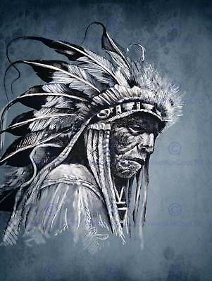 Painting Drawing Portrait Study Native American Chief Art Print Poster Mp3827b • 9£