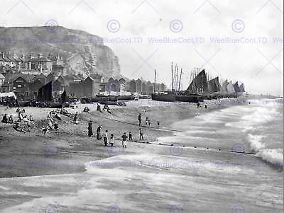 £9 • Buy Hastings East Cliff With Beach And Fish Market England Old Bw Photo Print 902bwb