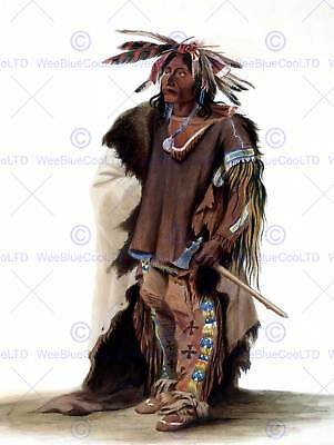 Painting Study Native American Bodmer Sioux Warrior Poster Art Print Bb12251b • 9£