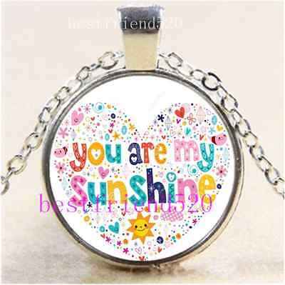 AU2.79 • Buy You Are My Sunshine Cabochon Glass Tibet Silver Chain Pendant  Necklace