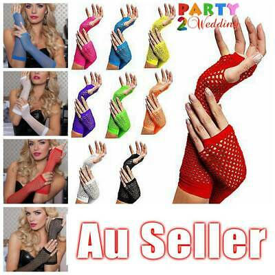 AU3.50 • Buy Ladies Fishnet Gloves Long Fingerless Neon Party Dance 70s 80s Womens Glove