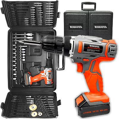 View Details 18V BATTERY CORDLESS DRILL SET DRIVER, ELECTRIC SCREWDRIVER & 89PC ACCESSORY • 49.95£
