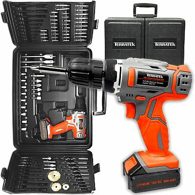 View Details TERRATEK® 18V CORDLESS DRILL DRIVER, ELECTRIC SCREWDRIVER & 89PC ACCESSORY SET • 42.99£