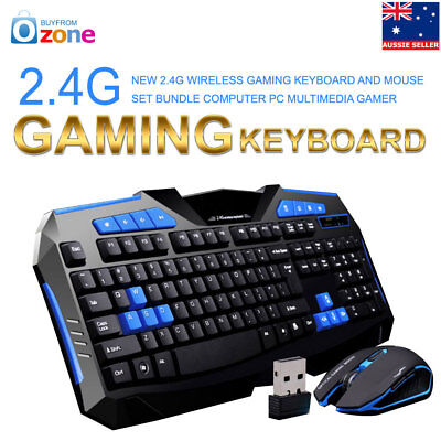 AU63.95 • Buy 2.4G Wireless Gaming Keyboard And Mouse Set Bundle Computer PC Multimedia Gamer