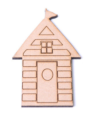 £3.85 • Buy Wooden Beach Hut Craft Shapes Engraved Detail Beach House Gift Tag Bunting