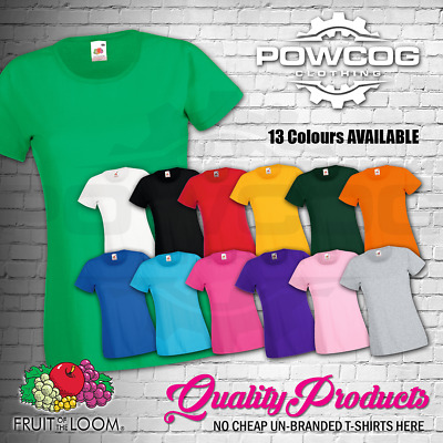 £3.49 • Buy FRUIT OF THE LOOM LADIES Plain Lady Fit T-Shirts Tee T Shirt  ALL SIZES XS-2XL
