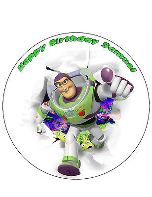 Toy Story Buzz Lightyear Personalised Cake Topper 8  Circle A4 Rectangle • 4.99£