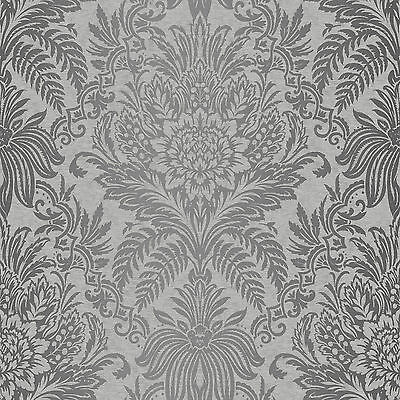 Crown Signature French Damask Grey Metallic  Feature Designer Wallpaper M1067 • 9.25£