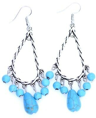 £1.49 • Buy Vintage Retro Style Silver And Turquoise Acrylic Drop Chandelier Earrings
