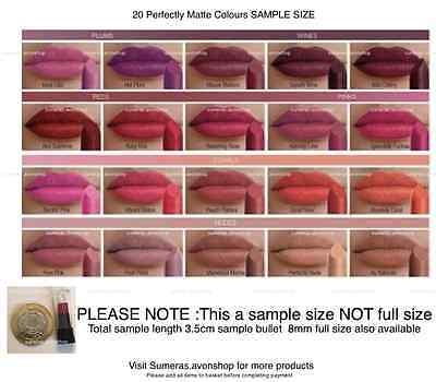 Avon Perfectly Matte Lipstick SAMPLES ~ Pick From 20 Shades ~ Free P&P ~ SALE!!! • 1.45£
