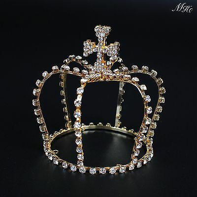 $ CDN19.98 • Buy Small Cross Style Crowns Clear Austrian Rhinestone Tiaras Prom Party Quinceanera