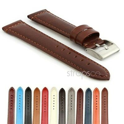 StrapsCo Smooth Leather Watch Band Mens Or Womens Strap W Stainless Buckle • 12.17£