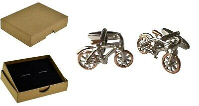 £7.75 • Buy Cycle Racing Bike Cufflinks Bicycle Cyclists Silver & Rose Gold  BE004