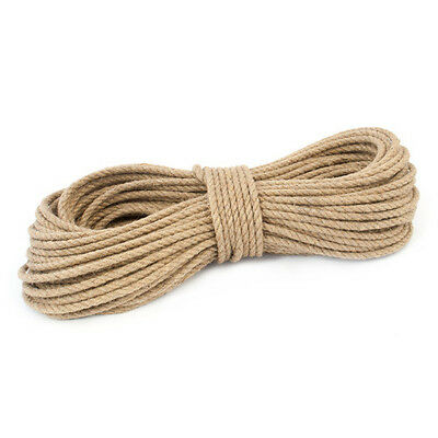 8mm 100% Natural Pure Jute Rope 3 Strand Braided Twisted Cord Twine Sash • 1.19£