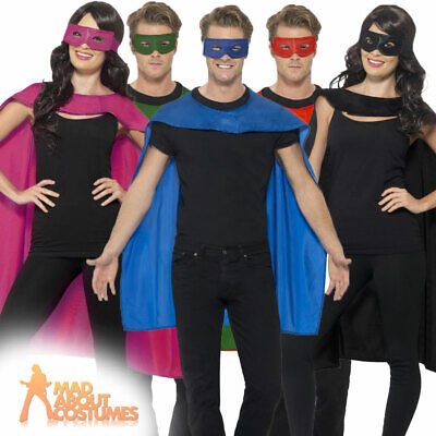 £5.69 • Buy Adult Superhero Cape And Eye Mask Set Costume Mens Womens Fancy Dress Outfit