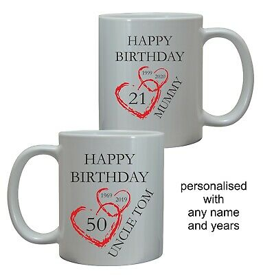 £8.95 • Buy Personalised Birthday Mug Any Age Name Friend Mum Dad Son Daughter Gift Him Her