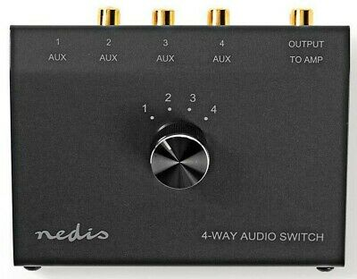 NEW METAL 4 PORT AUDIO SWITCH WITH 3 PHONO + 1 X 3.5MM • 28.89£
