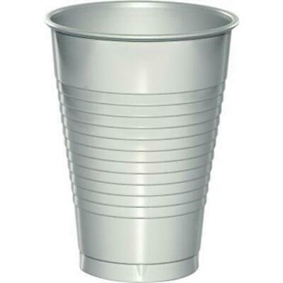 Silver 12oz Plastic Cups 20 Per Pack Silver Decorations & Party Supplies • 2.78£