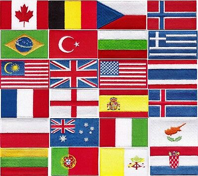 National Country Embroidered Flag Sew/iron On Patch Choose Your Country • 2.29£