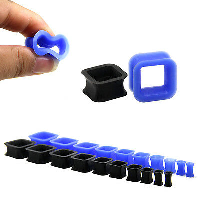 SQUARE SILICONE FLESH TUNNEL FLEXIBLE  EAR PLUG STRETCHER 4mm - 20mm  FREE  POST • 12.95£