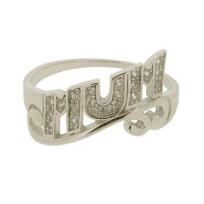 REDUCED TO CLEAR - Sterling Silver CZ Set Mum Scroll Ring In Gift Box DISCOUNTED • 14.44£