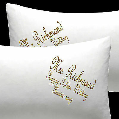 Personalised EMBROIDERED Pillow Cases Wedding GOLDEN Wedding COTTON Anniversary • 19.99£